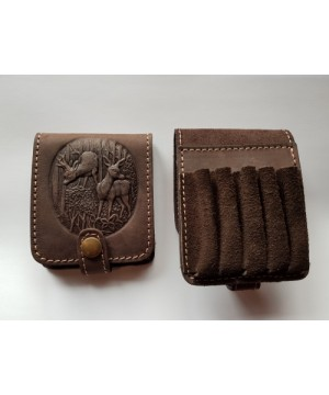 Leather Cartridge Case for 5 rifle cartridges
