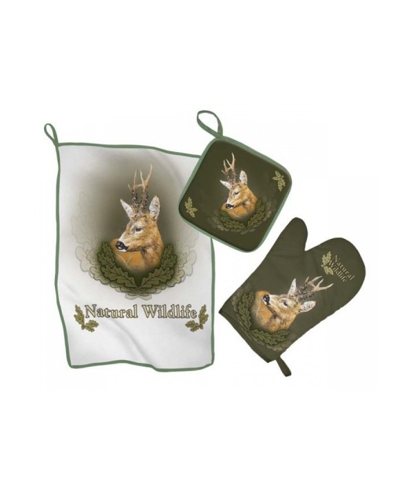 Kitchen Set with Roe Deer Print (green)