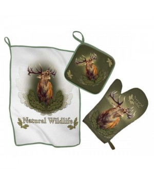 Kitchen Set with Roaring Deer Print (green)