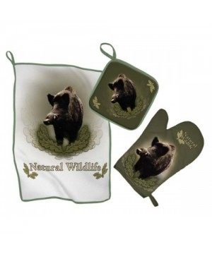Kitchen Set with Wild Boar Print (green)