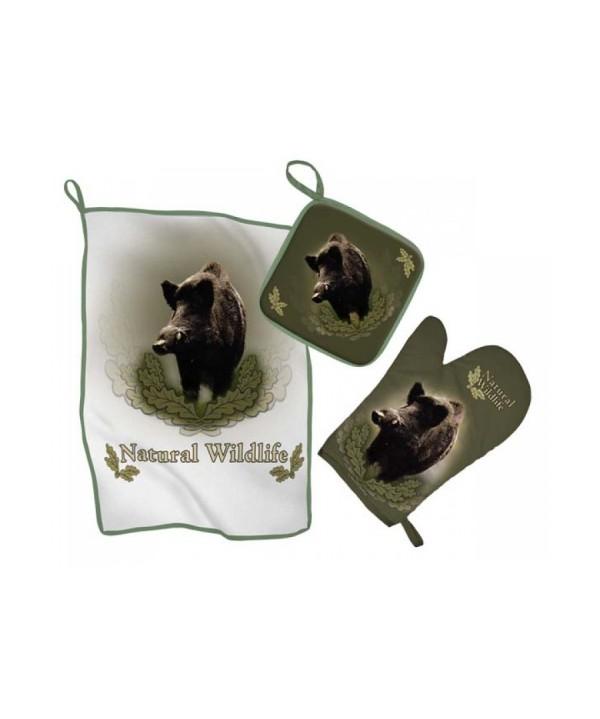 Kitchen Set with Wild Boar Print (green)