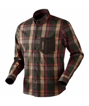 Amlet Shirt in Burgundy/Brown Check