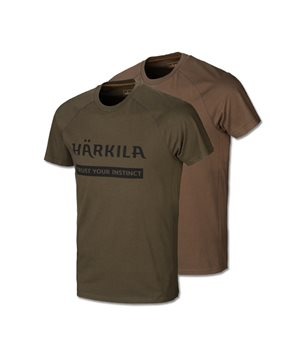 Harkila logo t-shirt 2-pack (Willow green/Slate brown)
