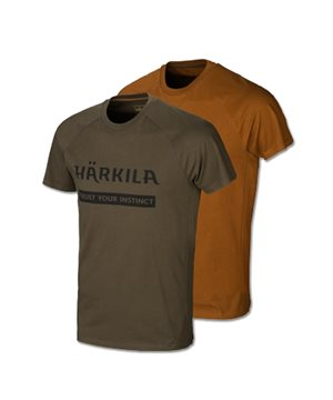 Harkila logo t-shirt 2-pack (Willow green/Rustique clay)
