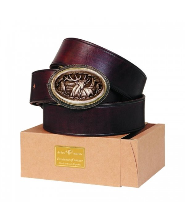 Leather Belt with Engraved Antler Buckle 4 cm