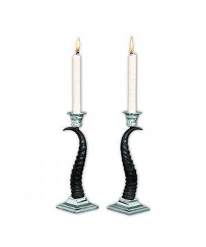 Silvered Antelope Antler Candle Holder Set (2 pcs)