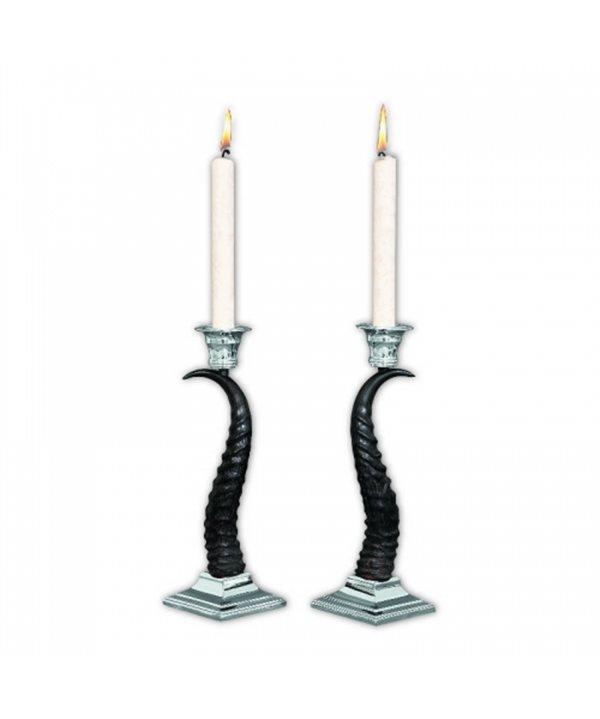 Silvered Antelope Antler Candle Holder Set (2 pcs)